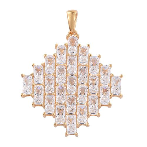 J Francis - 14K Gold Overlay Sterling Silver (Bgt) Cluster Pendant Made with SWAROVSKI ZIRCONIA