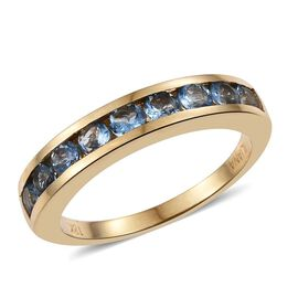 ILIANA 18K Yellow Gold 1 Carat AAA Santa Maria Aquamarine Half Eternity Band Ring.