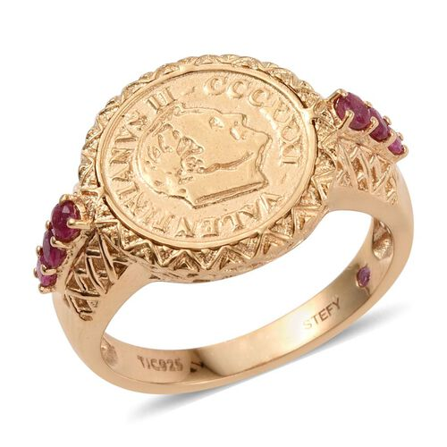Stefy African Ruby (Rnd), Pink Sapphire Ring with Coin in 14K Gold Overlay Sterling Silver 0.500 Ct.