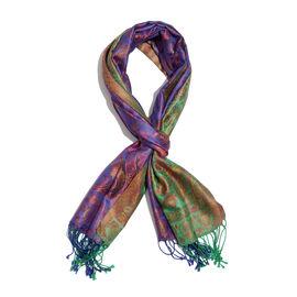 SILK MARK- 100% Superfine Silk Green, Purple and Multi Colour Jacquard Jamawar Scarf with Fringes (Size 180x70 Cm)