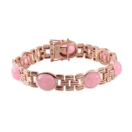 Pink Jade (Ovl) Bracelet (Size 7.5) in Rose Gold Overlay Sterling Silver 28.500 Ct.