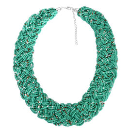 Multi Colour Glass Beaded Statement Collar Necklace (Size 18)