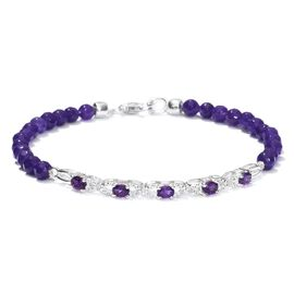 New Concept Amethyst and Purple Quartzite Bracelet (Size 7.5) in Sterling Silver 16.380 Ct.