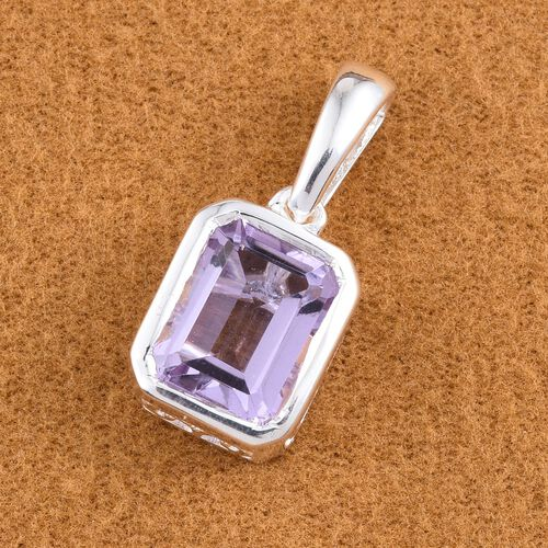 Rose De France Amethyst (Oct) Solitaire Pendant in Sterling Silver 2.000 Ct.