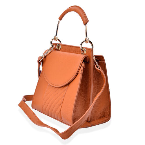 Tan Colour Crossbody Bag with Adjustable and Removable Shoulder Strap (Size 20x20x9 Cm)