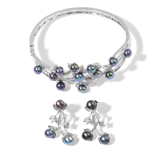 Fresh Water Peacock Pearl and Simulated White Diamond Bangle (Size 7.50) Earrings (with Push Back) in Silver Tone