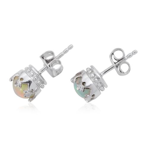 Ethiopian Welo Opal (Rnd) Stud Earrings (with Push Back) in Platinum Overlay Sterling Silver 1.000 Ct.