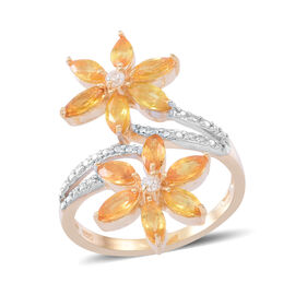 Yellow Sapphire (Mrq), Natural Cambodian Zircon Twin Floral Ring in 14K Gold Overlay Sterling Silver 2.500 Ct.