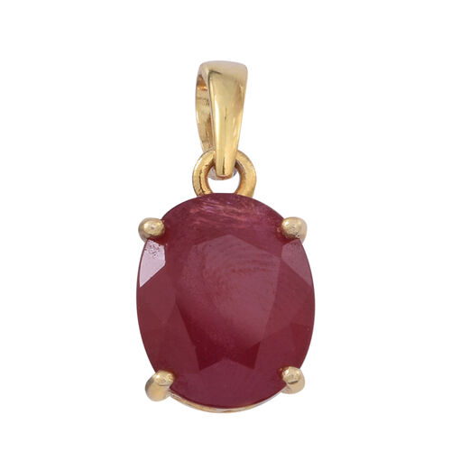 African Ruby (Ovl) Solitaire Pendant in 14K Gold Overlay Sterling Silver 6.500 Ct.
