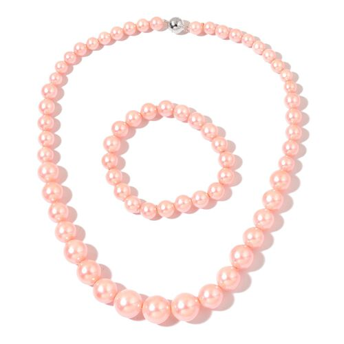 Super Auction - Graduated Peach Pink Shell Pearl Necklace (Size 20) with Sterling Silver Magnetic Lock and Stretchable Bracelet (Size 7.5)