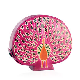 Genuine Leather  Hand-Printed Peacock Design Money Bank (Size 13x11 Cm)