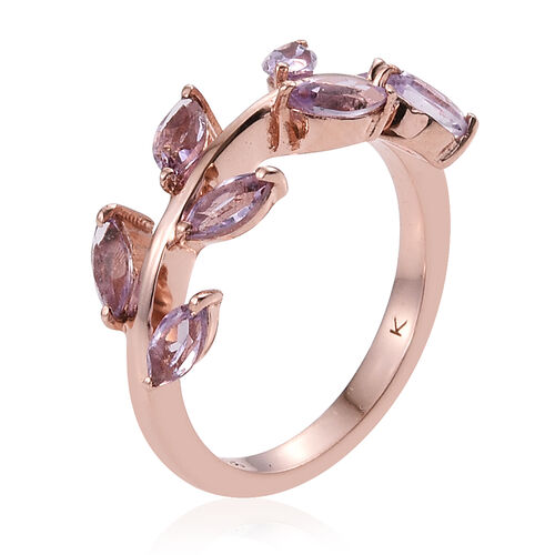 Kimberley Wild At Heart Collection Rose De France Amethyst (Mrq) Leaves Ring in Rose Gold Overlay Sterling Silver 1.000 Ct