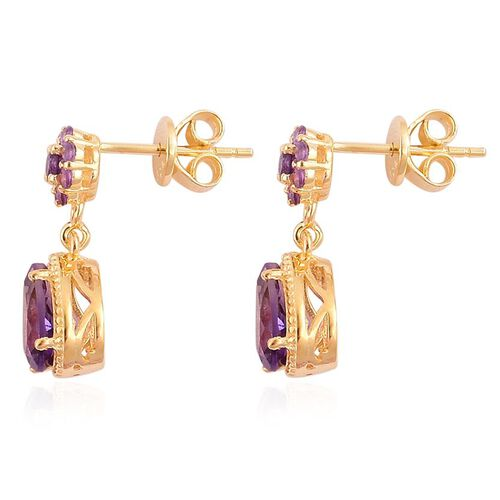 AA Lusaka Amethyst (Pear) Earrings in Yellow Gold Overlay Sterling Silver 2.150 Ct.