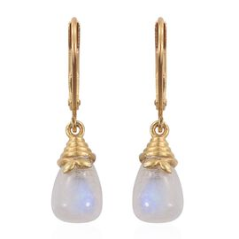 Rainbow Moonstone Lever Back Drop Earrings in 14K Gold Overlay Sterling Silver 5.750 Ct.