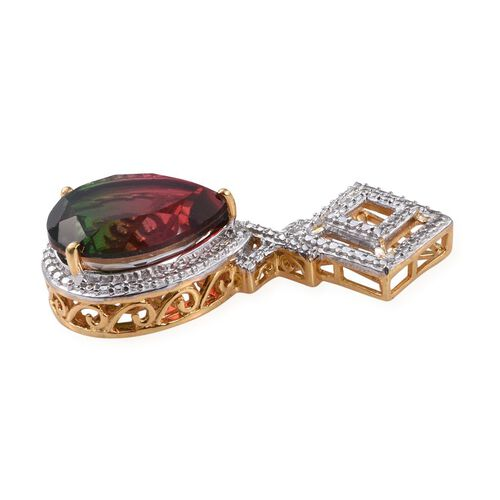 Bi-Color Tourmaline Quartz (Pear), Diamond Pendant in 14K Gold Overlay Sterling Silver 9.510 Ct.