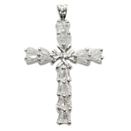 ELANZA AAA Simulated Diamond (Bgt) Cross Pendant in Rhodium Plated Sterling Silver 1.500 Ct.