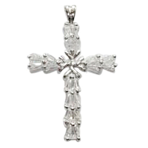(Option 2) ELANZA AAA Simulated Diamond (Bgt) Cross Pendant in Rhodium Plated Sterling Silver