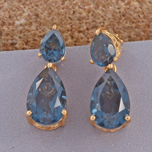 Indicolite Quartz (Pear) Earrings (with Push Back) in 14K Gold Overlay Sterling Silver 13.500 Ct.