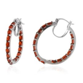 Jalisco Fire Opal (Ovl) Hoop Earrings (with Clasp) in Platinum Overlay Sterling Silver 5.250 Ct.