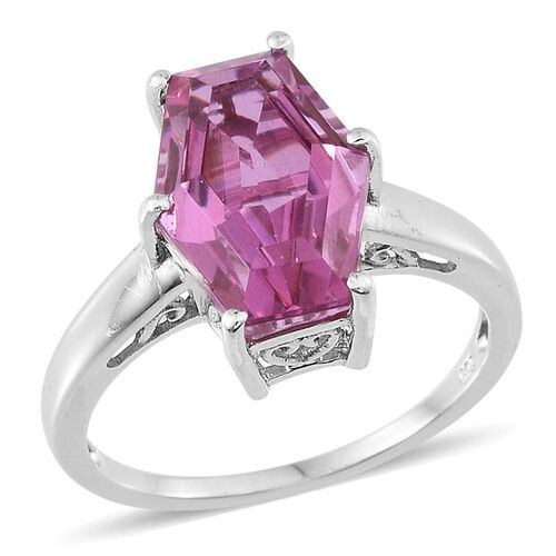 Kunzite Colour Quartz Ring in Platinum Overlay Sterling Silver 6.000 Ct.