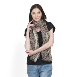 100% Merino Wool Green, Grey and Multi Colour Floral Printed Scarf (Size 180x70 Cm)