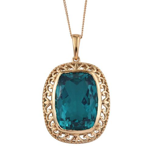 Capri Blue Quartz (Cush) Pendant With Chain in 14K Gold Overlay Sterling Silver 15.000 Ct.