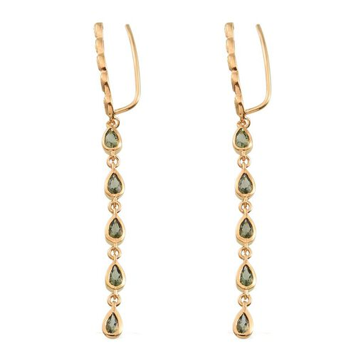 Bohemian Moldavite (Pear) Climber Earrings in 14K Gold Overlay Sterling Silver 1.500 Ct.