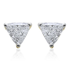 14K Yellow Gold IGI Certified Diamond Trillion (I1/G-H) Solitaire Stud Earring 0.45 Carat with Screw Back.