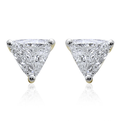 14K Yellow Gold IGI Certified Diamond (Trl) (I1 G-H ) Stud Earrings (with Screw Back) 0.450 Ct.