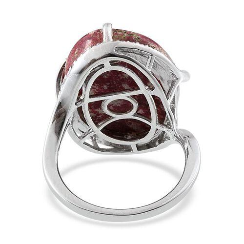 Norwegian Thulite (Ovl 15.25 Ct), Diamond Ring in Platinum Overlay Sterling Silver 15.300 Ct.