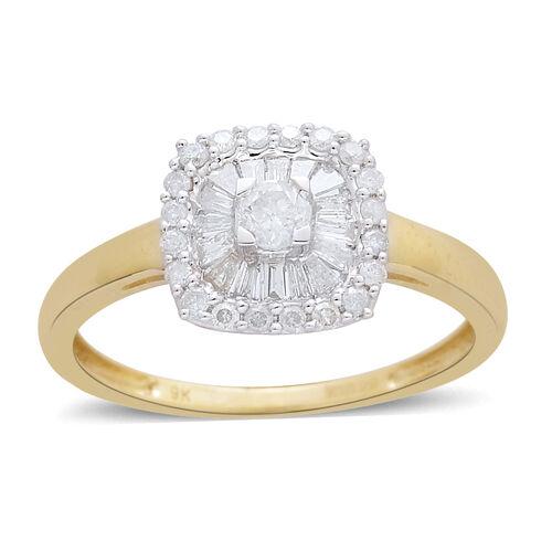 9K Yellow Gold 0.50 Carat Diamond Cluster Ring SGL Certified I3/G-H.
