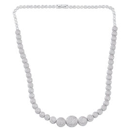 ELANZA AAA Simulated White Diamond (Rnd) Necklace (Size 18) in Rhodium Plated Sterling Silver