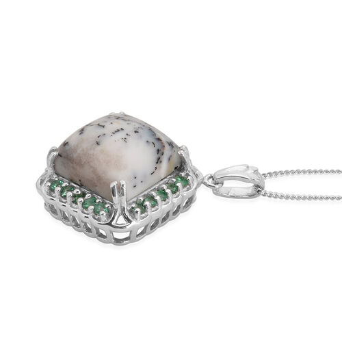 Dendritic Opal (Sqr 6.25 Ct), Kagem Zambian Emerald Pendant With Chain in Platinum Overlay Sterling Silver 6.650 Ct.