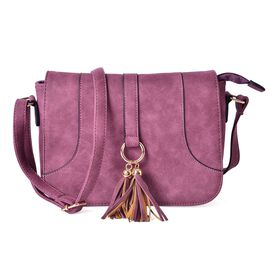 Purple Colour Middle Size Crossbody Bag With Adjustable Shoulder Strap and Tassels (Size 25x19x8 Cm)
