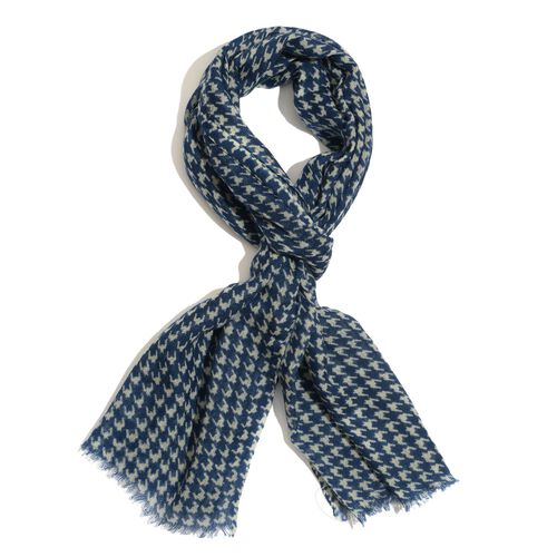 100% Merino Wool Houndstooth Pattern Blue and White Colour Woven Scarf (Size 175x70 Cm)