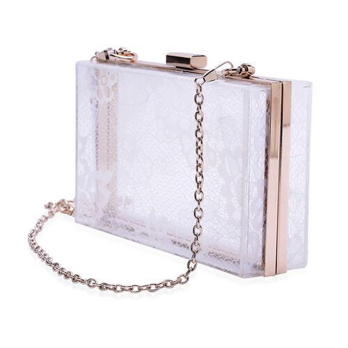 Lace Pattern White Colour Clutch Bag with Removable Chain Strap (Size 18x10x5 Cm)