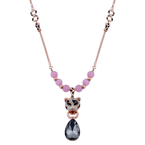 Simulated Pink Cats Eye, Grey Glass, White and Green Austrian Crystal Enameled Leopard Face Necklace (Size 28) in Rose Gold Tone