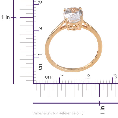 White Topaz (Ovl) Solitaire Ring and Pendant in 14K Gold Overlay Sterling Silver 4.000 Ct.