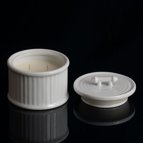 (Option 1) Home Decor - Fresh Linen Fragrance Ceramic Wax Candle