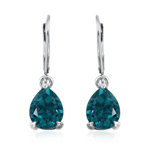 Capri Blue Quartz (Pear) Earrings in Platinum Overlay Sterling Silver 5.250 Ct.