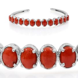 Natural Mediterranean Coral (Ovl) Bangle in Platinum Overlay Sterling Silver (Size 7.5) 7.250 Ct.