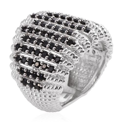 Boi Ploi Black Spinel (Rnd) Cluster Ring in Platinum Overlay Sterling Silver 2.750 Ct.