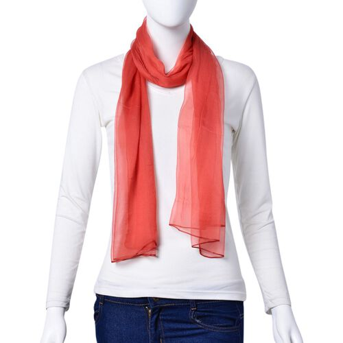100% Mulberry Silk Red Colour Scarf (Size 170X70 Cm)