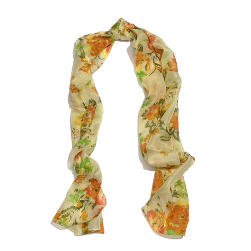 SILK MARK - Made in Kashmir 100% Mulberry Silk Multi Colour Floral Pattern Lime Colour Scarf (Size 175x50 Cm)