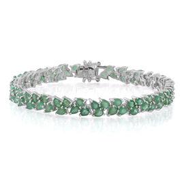 AA Kagem Zambian Emerald (Pear) Bracelet (Size 7.5) in Rhodium Plated Sterling Silver 12.000 Ct.