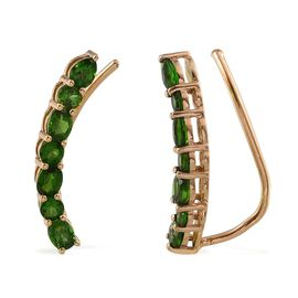 Russian Diopside (Ovl) Climber Earrings in 14K Gold Overlay Sterling Silver 2.763 Ct.