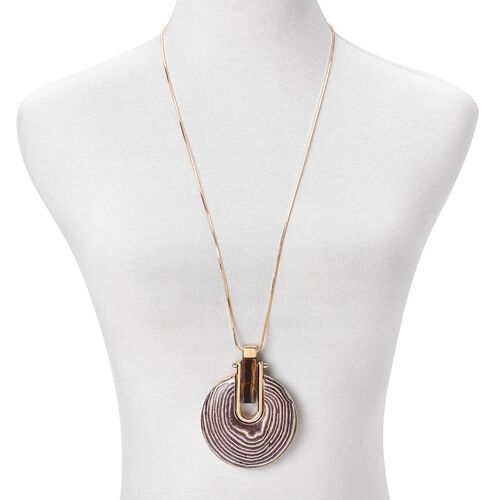 Tigers Eye Celestial Necklace (Size 30 with 2 inch Extender) in Yellow Gold Tone