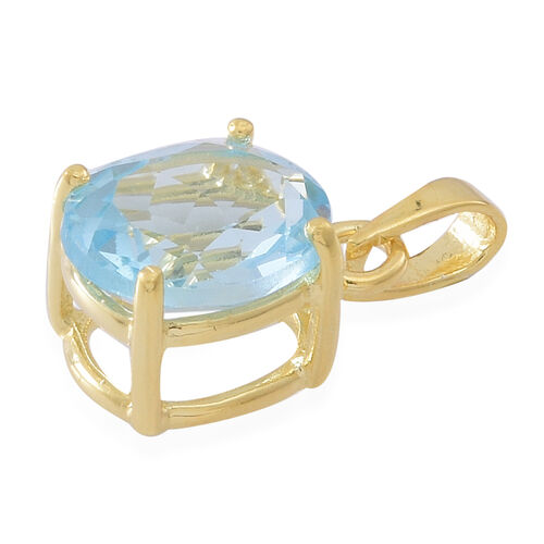 AAA Sky Blue Topaz (Ovl) Solitaire Pendant in Yellow Gold Overlay Sterling Silver 4.500 Ct.
