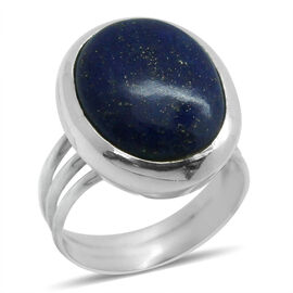 Royal Bali Collection Lapis Lazuli (Ovl) Solitaire Ring in Sterling Silver 9.790 Ct.