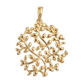 Designer Inspired 14K Gold Overlay Sterling Silver Olive Leaves Pendant, Silver wt 4.86 Gms.